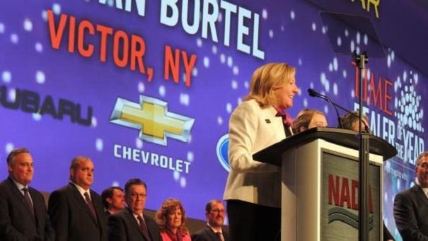 Kitty Van Bortel, 2016 TIME Dealer of the Year Award winner addresses the audience in Las Vegas